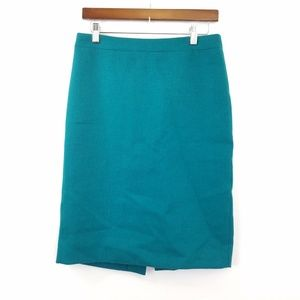 J. Crew No. 2 Pencil Skirt Wool Turquoise Size 4